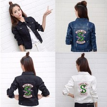 Riverdale Jeans Denim Jacket South Side Serpents Streetwear Tops Spring Jean Women Jacket Harajuku Hip Hop Denim Clothing Female
