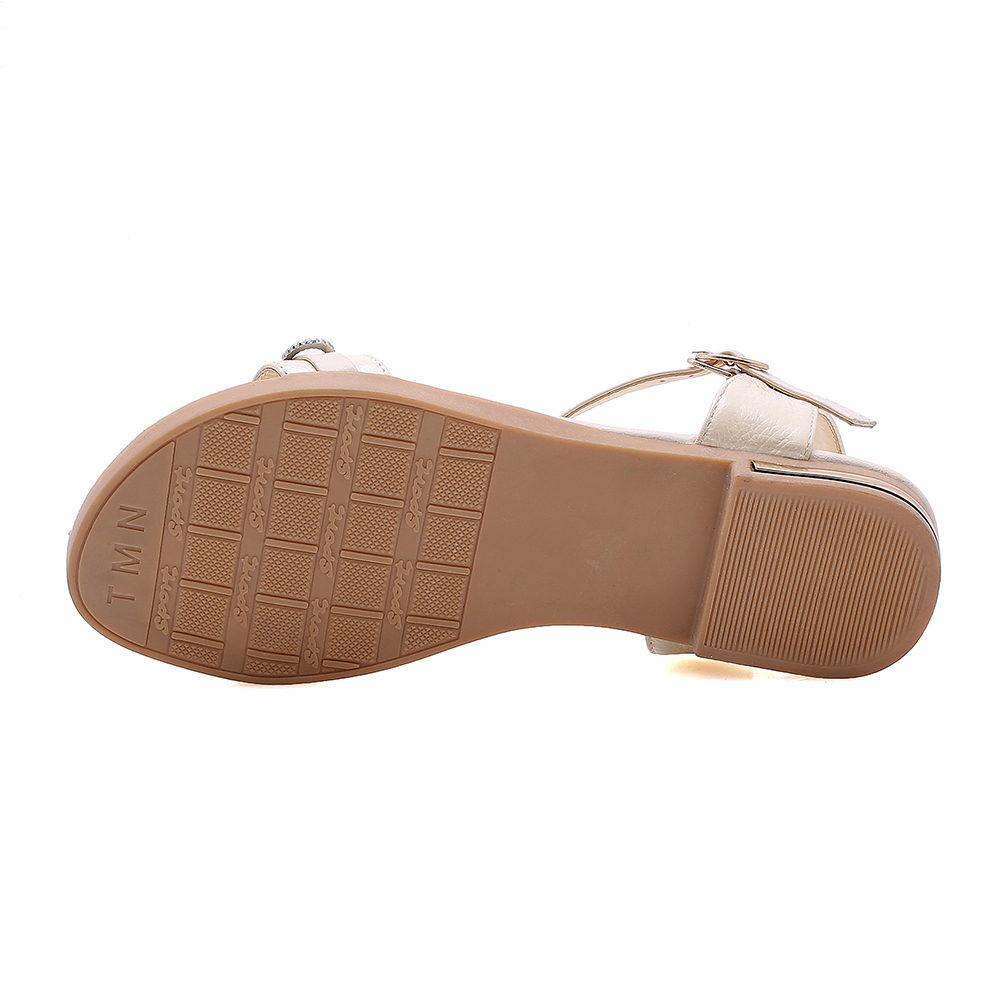 Sgesvier 2019 new summer shoes woman casual beach shoes crystal buckle flat shoes ladies genuine leather sandals women G418 in Low Heels from Shoes