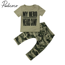 2019 Children Summer Clothing Newborn Baby Boys Camo Outfits Tops Short Sleeve T-shirt Long Pants 2Pcs Outfits Sets Clothes