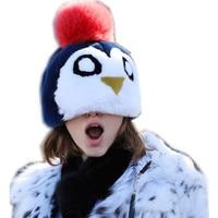 ladies kids penguin shape beanie with fur pompom cute winter warm hats for women winter real rex rabbit fur caps adjustable H248