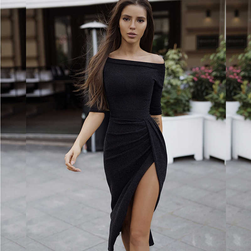 75f0b6cdcab53 NewAsia Elegant Off Shoulder Bodycon Dress Women Sexy Side Split Long Dress  Shiny 3/4 Sleeve Elasticity Bandage Party Dresses