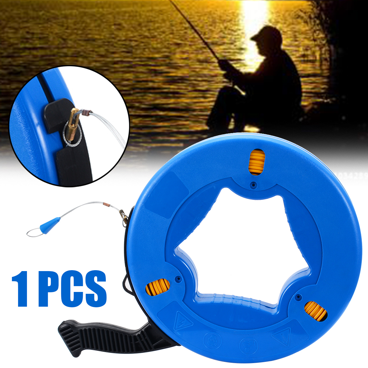 Portable 45 Meter Length Non conductive Fiberglass Fish Tape Fishing Tool Reel Puller Conduit Duct Rodder