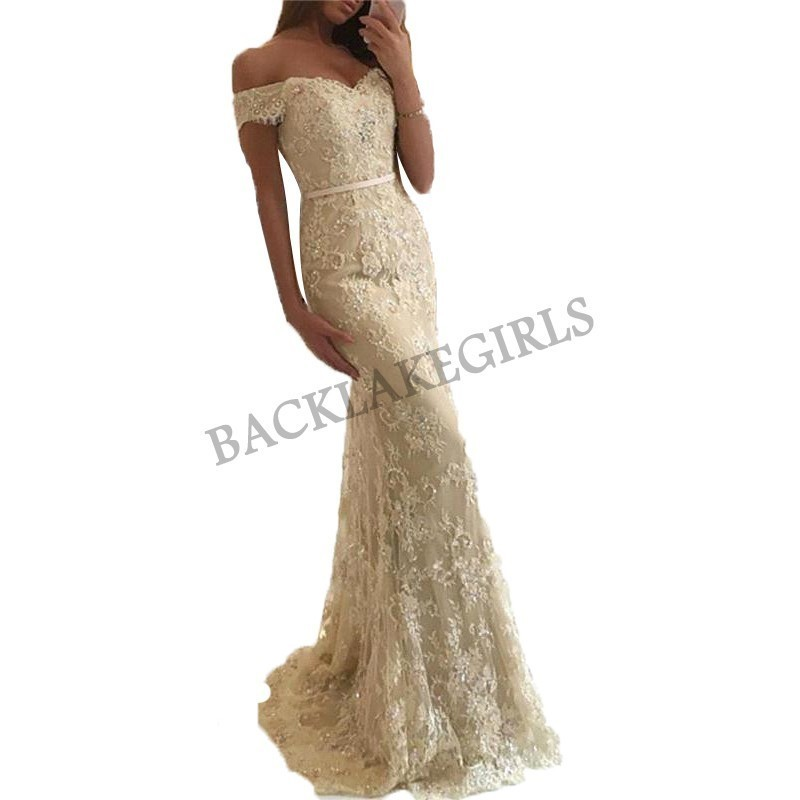 Elegant Mermaid Lace   Prom     Dress   Long V-neck Fashion Off Shoulder Champagne Evening   Dresses   Women Party Gown