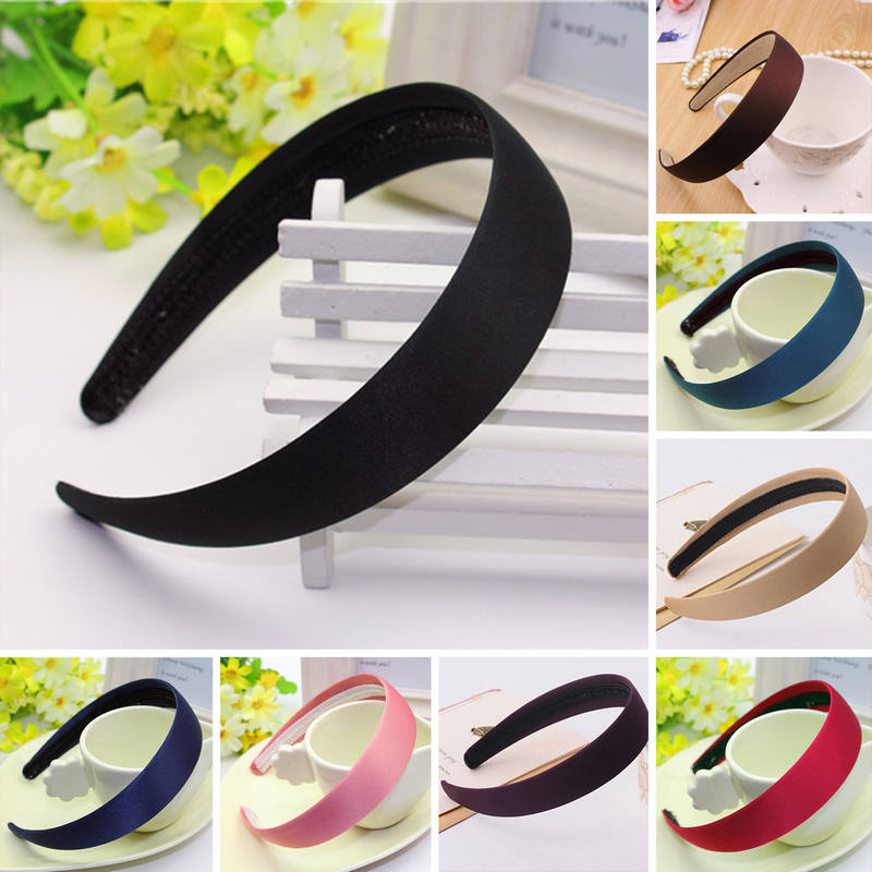 New Women Plain Satin Look Fabric Covered Headband Alice Hair Hairband Head Band