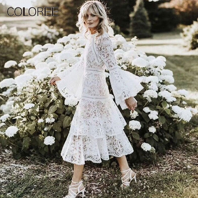 European High-end White Lace Dress 2019 Spring Women Elegant O-neck Flare Sleeve Ruffles Layer Midi Dress Runway Dress