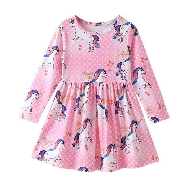 Kids Infant Unicorn Floral Party Dresses Toddler Autumn Spring Clothes 1