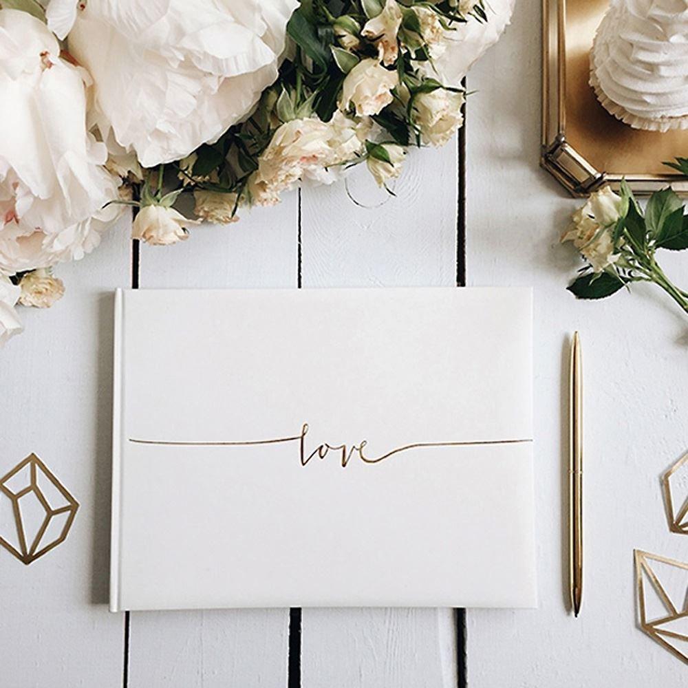 Romantic White Theme Custom Wedding Guest Book Alternatives-Love Signature Wedding Guestbook Wedding Photo Album Memory