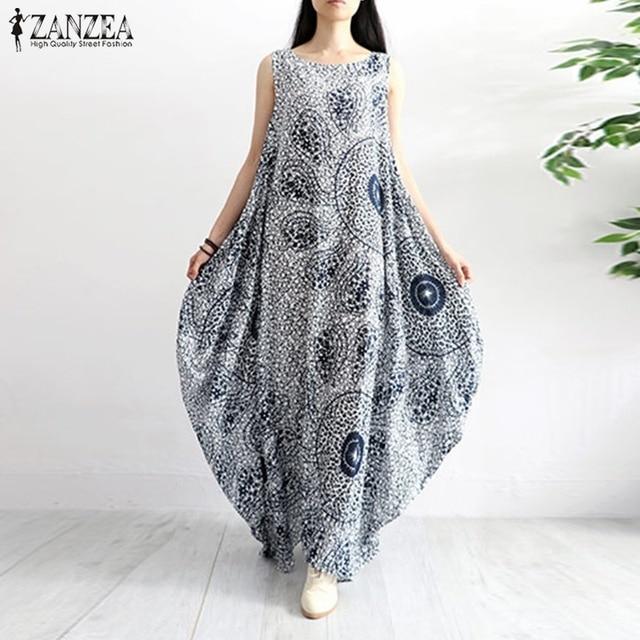 ZANZEA 2019 Women Summer Sleeveless Maxi Long Dress Casual Boho Floral  Printed Loose Vestido Robe Kaftan Cotton Linen Dresses 4fbfe57fe041