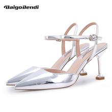 Small Size 33 34 Gold Silver Metal Heels Woman Pointed Toe Elegant Buckle Strap Hight Ladies Summer Sandals Real Leather