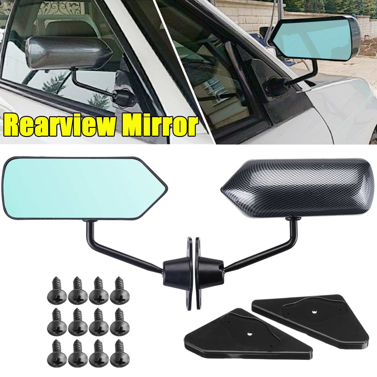 ABS Carbon Fiber Style Side Mirror Cover Caps Overlay Fit For Range Rover L405