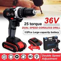 36V Electric Cordless Drill Double Speed Adjustment LED Worklight Electric Drill Set Wood Drilling Tools