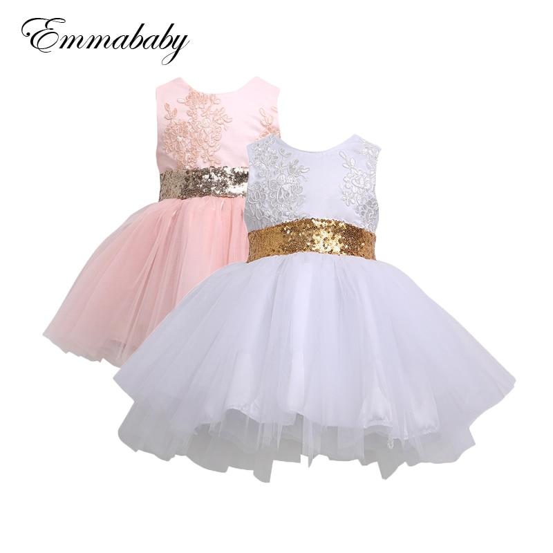 Kid Baby Flower Girls Party Sequin Dress Bow Wedding Tutu Tulle Dresses Princess