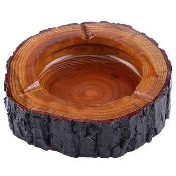 Round Natural Wood Ashtray Handmade Cigarette Cigar Tobacco Smoking Ash Tray Case For KTV Restaurant Bar Home Office