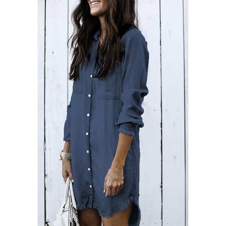 Women Tassel Denim Shirt 3