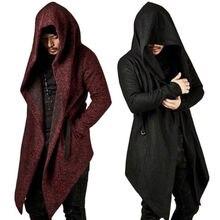 Men Hooded Sweatshirt 2020 Autumn Hip Hop Mantle Hoodies Jackets Mens Streetwear Gothic Black Long Hoodies Outwear 3XL
