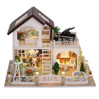 Wooden Miniature Dollhouse Kit DIY Handcraft Doll House Model with Lights Furniture Educational Toys Gift for Children Adult