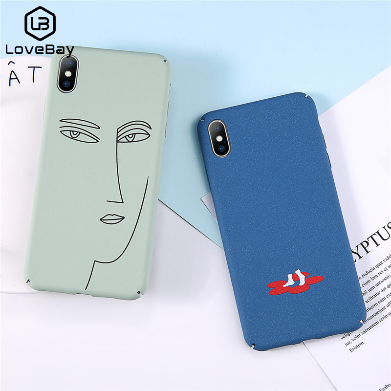 Lovebay Hard Cover For iPhone 6 6S 7 8 Plus X XR XS Max Pantone Cat Cute Cartoon English Letter Pig Human People Face Phone Case