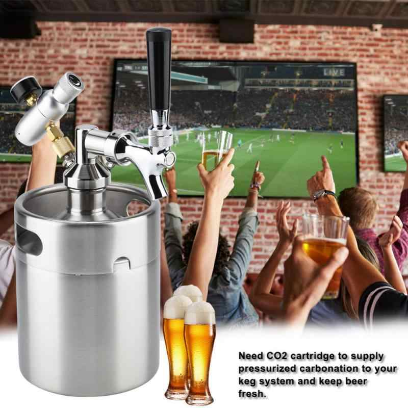 Protable 2L Mini Beer Dispenser Stainless Steel Keg with Faucet Pressurized Home Brewing Craft Beer Dispenser System