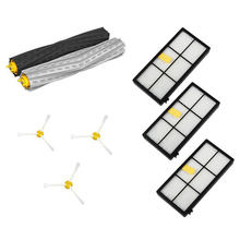 SANQ 1 set Tangle-Free Debris Extractor&Filters &Side Brush Replenishment kit for iRobot Roomba 800 900 series 870 880 980 5x side brushes 5x filters replacement for irobot roomba 800 900 860 880 980 960 870 robotic cleaner parts accessories