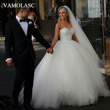 VAMOLASC Beading Strapless Tulle Ball Gown Wedding Dresses Off The Shoulder Lace Appliques Backless Bridal Gowns
