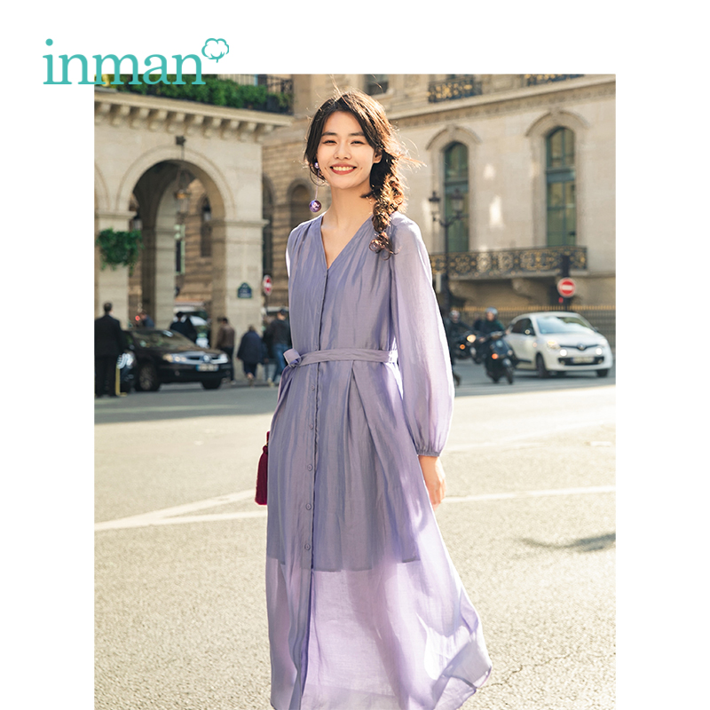 INMAN 2019 Spring New Arrival V neck Retro Literary With Belt Slim Loose A line Long