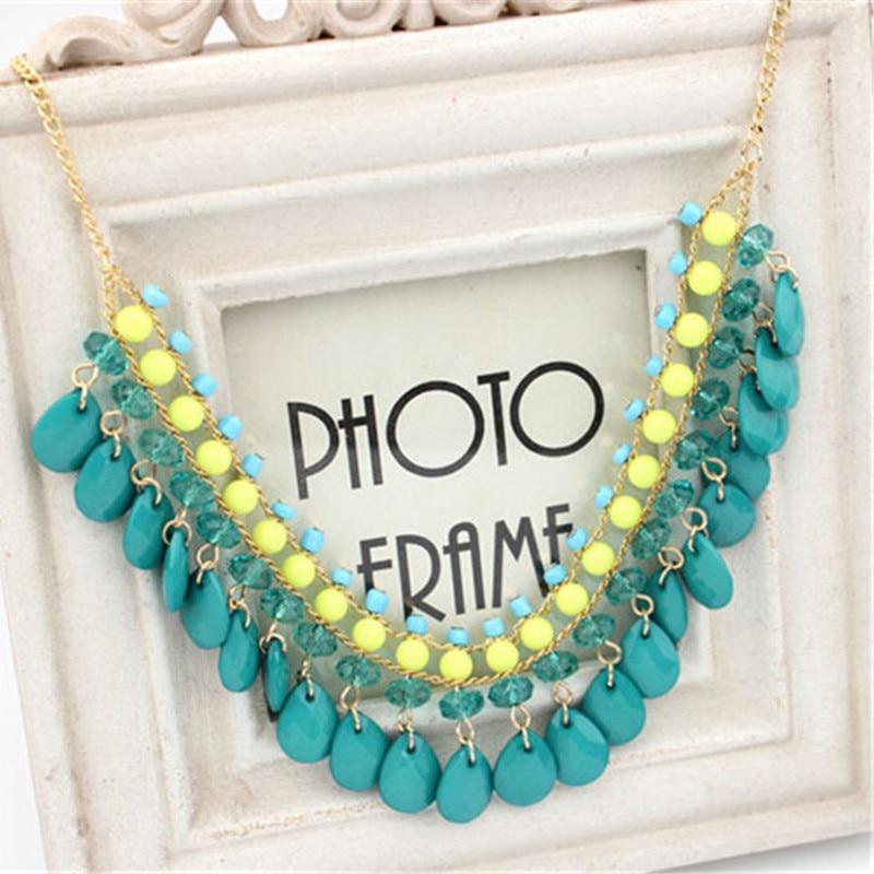 Hot Bohemian Style Fluorescence Water Drops Bib Statement Necklace Pendant