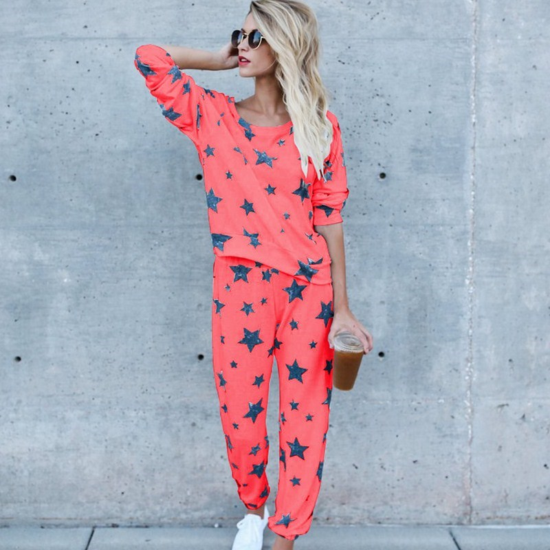 Women Star Print Soft   Pajama     Sets   Spring Round Neck Thin Comfortable Home Suit