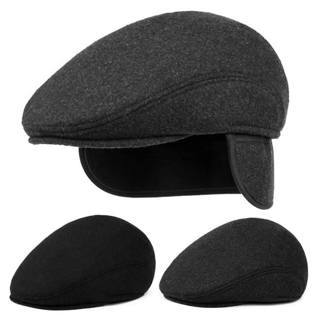 de8b919ce4187 Classic Men Beret Hats With Ear Flap Winter Warm Wool Caps Retro Male Baret Flat  Cap Solid Black Gray Windproof Dad Hat Boina