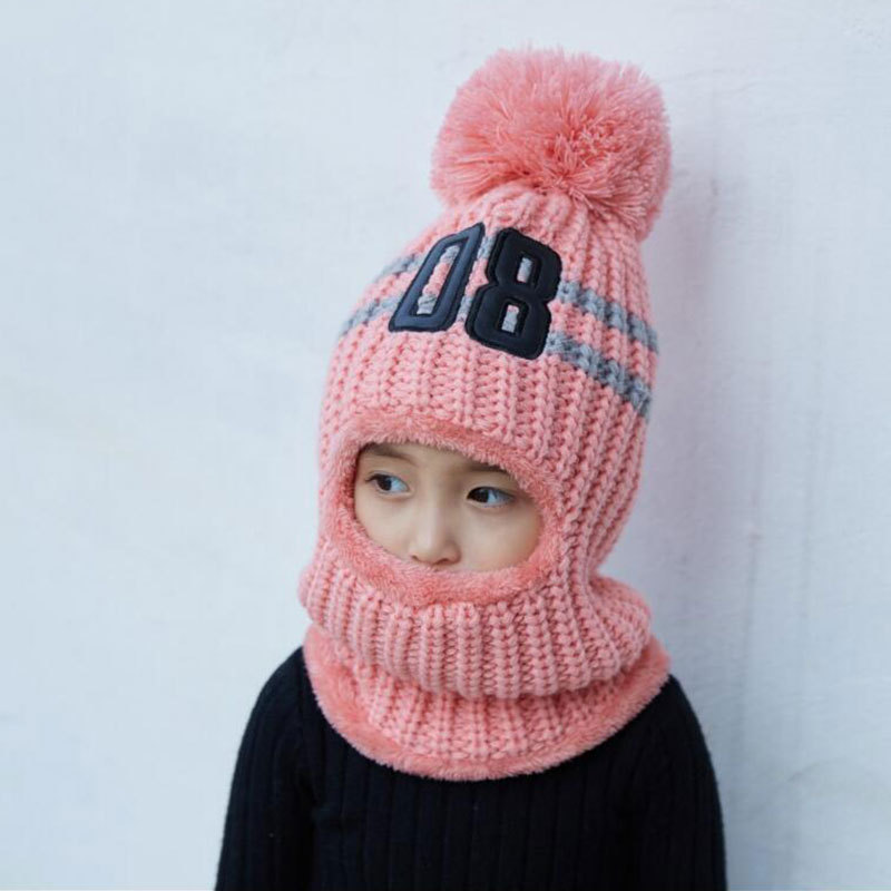 c472d0b7fc5d1 Winter Hats For Kids Pom Pom Hat Cap For Girls Boy Hat Balaclava Children  Knitted Beanie Thicken Fleece Line Winter Hat Wool For-in Skullies   Beanies  from ...