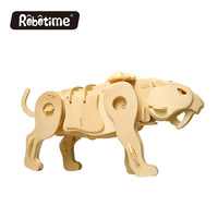 3D Wooden Mechanical Sound Control Animal Model Splicing Building Blocks Educational Toys For Children Christmas Creative Gift
