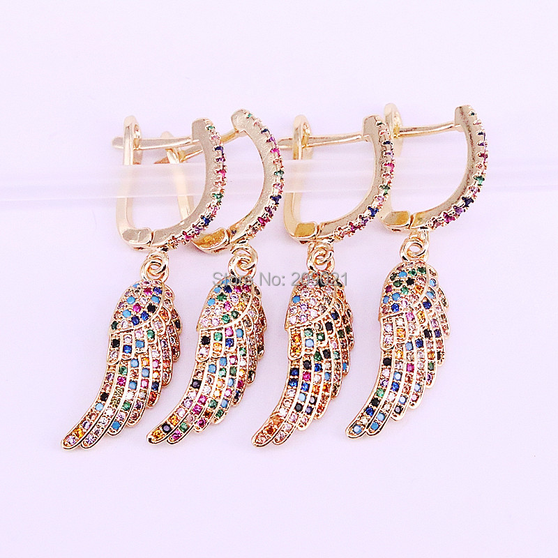 5Pair Gold color micro paved rainbow zirconia wing feather dangle earrings multi color cz charm women