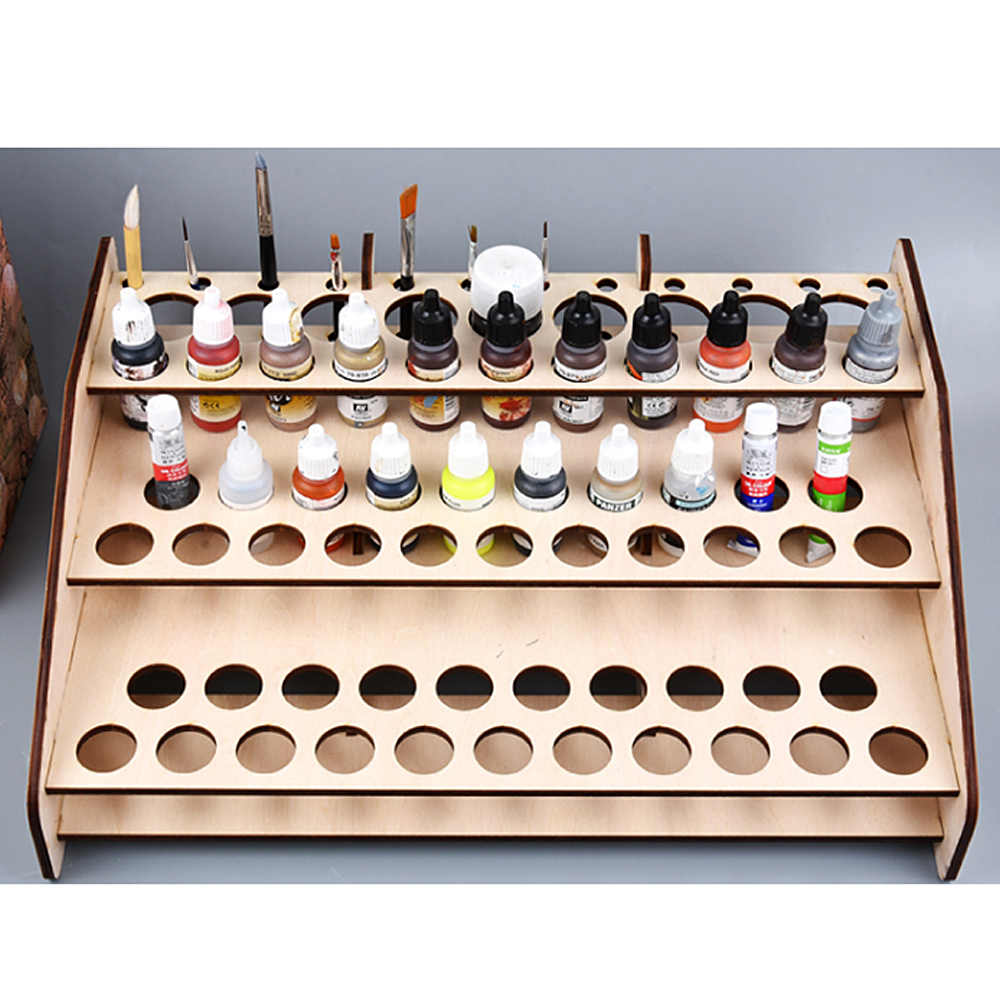 Good Stability and Table Rack Bonarty 2-Packs Wood Paint Rack Shelf Pigment Ink Bottles Organizer Storage Stand Holder