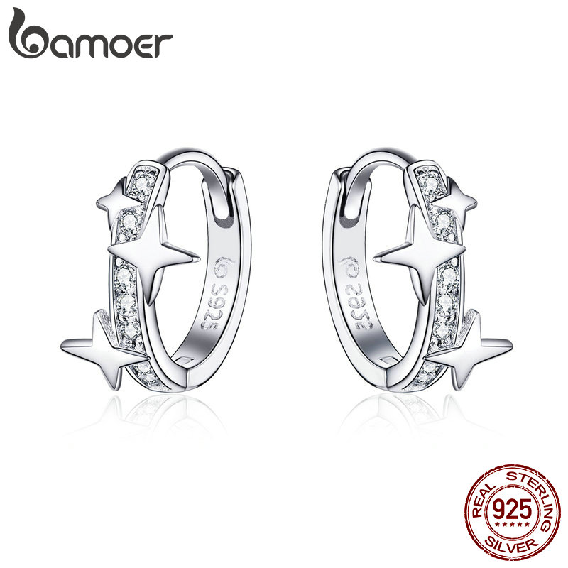 BAMOER Small Hoop Earrings 925 Sterling Silver Clear CZ Universe Galaxy Tiny Earrings for Girl Gifts anti-allergy Jewelry BSE076BAMOER Small Hoop Earrings 925 Sterling Silver Clear CZ Universe Galaxy Tiny Earrings for Girl Gifts anti-allergy Jewelry BSE076