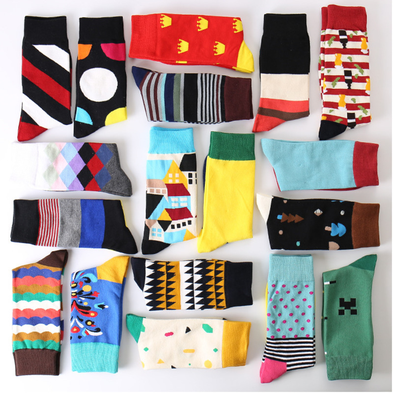 Men Socks Funny Cartoon House Tree Geometric Rhomboid Lattice Stripe Colorful Happy Personality Hip Hop Skate Cotton Sock Winter hockey sock