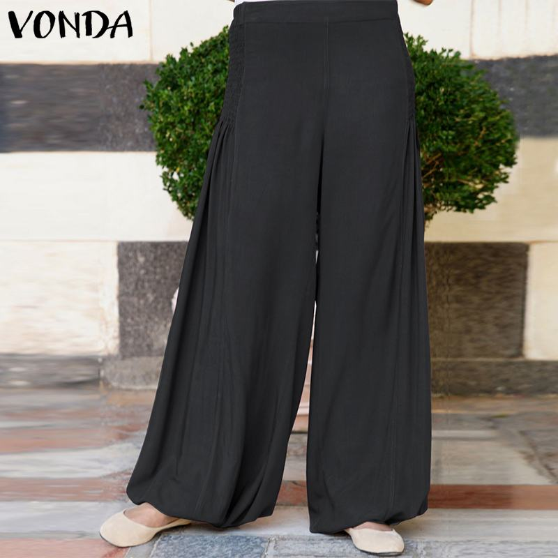 VONDA Fashion Office Ladies   Pants   Female 2019 Spring   Wide     Leg     Pants   Women Casual Loose Elastic Waist Trousers Plus Size Bottoms