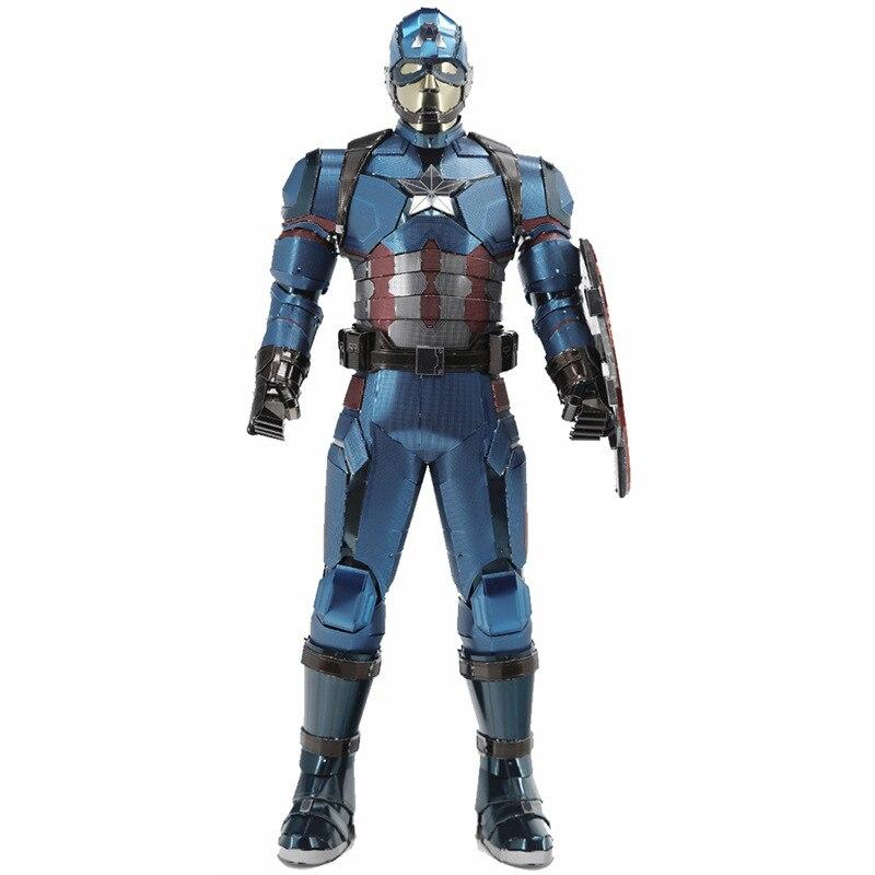 MMZ modèle 3D puzzle en métal personnalisé grande taille modèle Captain America Kits bricolage assembler Puzzle puzzle construction jouet pour cadeaux
