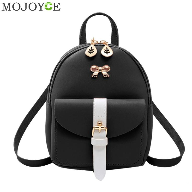 Female Hit Color Bowknot Backpacks Women Panelled Small Shoulder Teenage Girls PU Leather Casual Crossbody bags for women 2019Female Hit Color Bowknot Backpacks Women Panelled Small Shoulder Teenage Girls PU Leather Casual Crossbody bags for women 2019