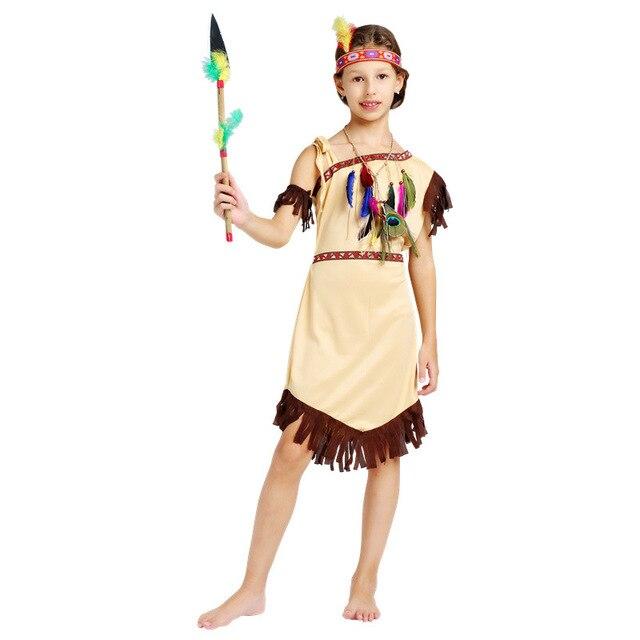 846854177bbb5 Children Girl Native American Indian Princess Cosplay Halloween Costume  African Kids Costumes Halloween Party Dress Supplies