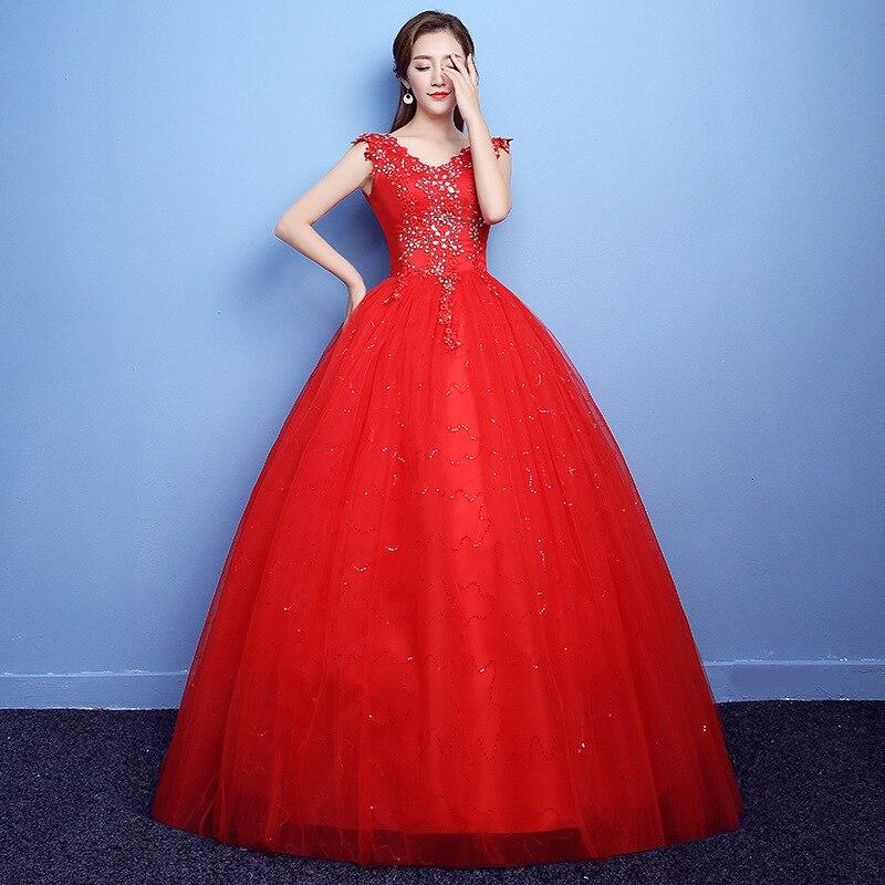 Robe De Noiva 2019 v-cou rouge perles dos nu Quinceanera robes Tulle cristal robe De bal élégantes robes De Quinceanera - 3