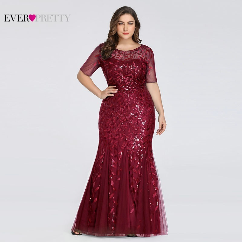 Plus Size Sequined Evening Dresses Long Ever Pretty O-Neck Half Sleeve Mermaid Abiye Sexy Elegant Party Dresses Robe De Soiree(China)