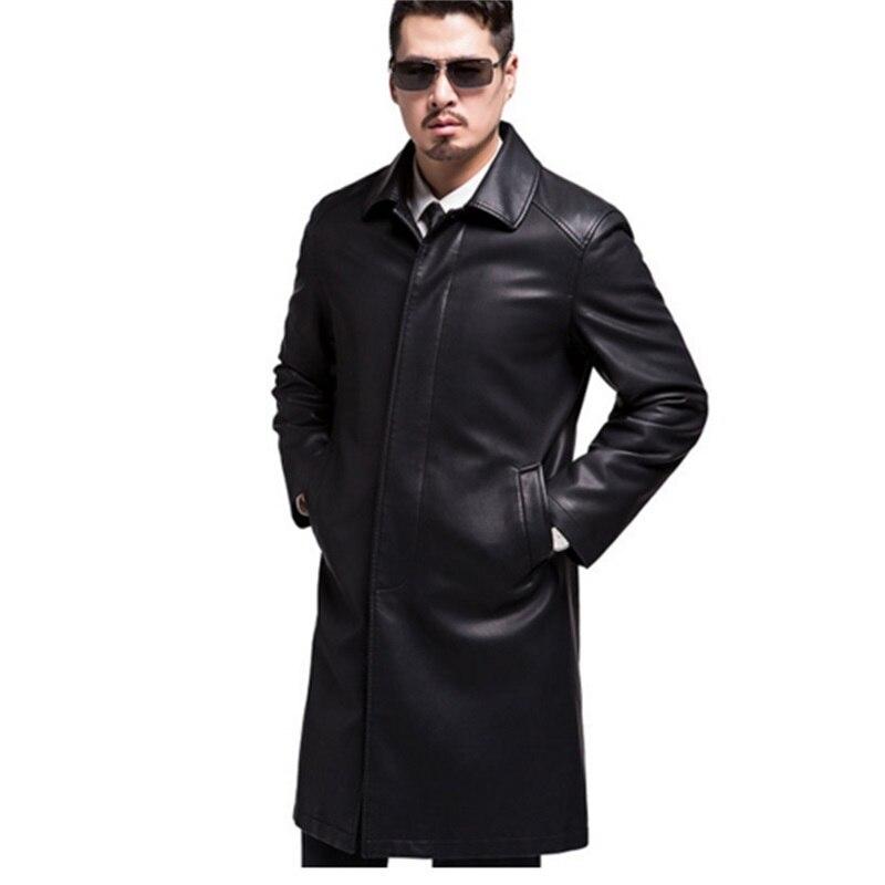 Nouveau Style hommes manteaux en cuir véritable longue section veste en peau de mouton et manteau mâle en cuir manteau Style d'hiver, veste en cuir loog - 5