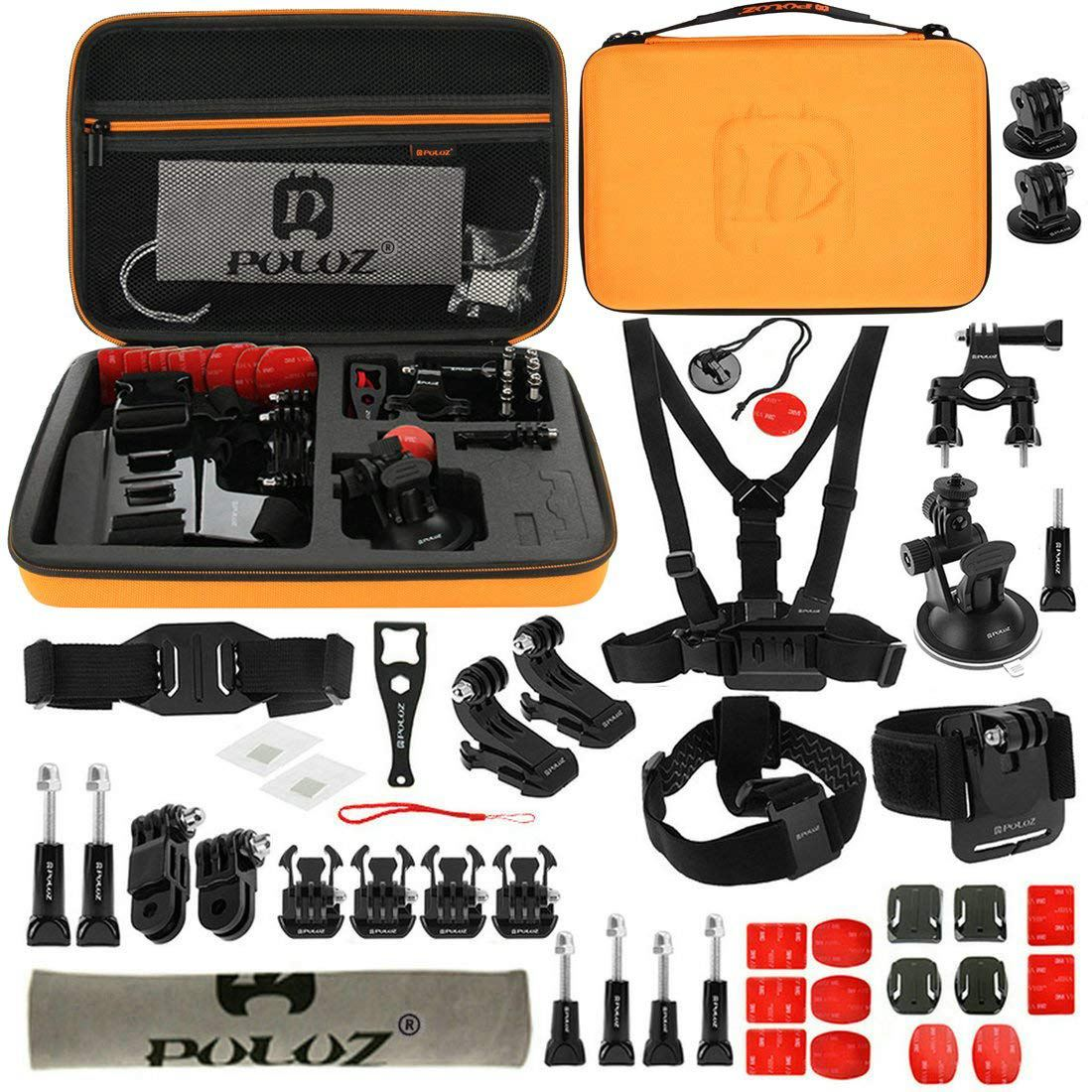 PULUZ 45 in 1 Accessories(Chest Strap+3 Way Pivot Arms+J Hook Buckle+Wrist Strap+Helmet Strap Surface Mounts+Tripod Adapter+St