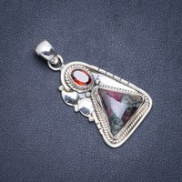 Natural Ruby Zoisite and Garnet Handmade Unique 925 Sterling Silver Pendant 1.5 A0480