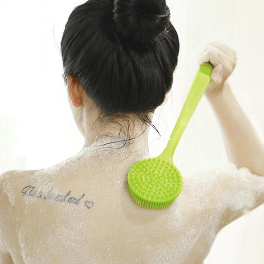 Soft Silicone Body Bathing Brush Long Handle Bath Shower Brush Body Scrub For Back Scrubber Exfoliating Skin Cleaner
