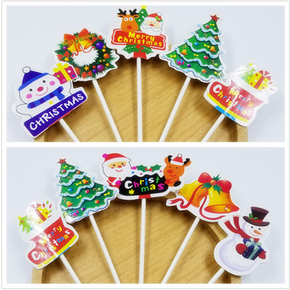 Us 0 98 40 Off 5pcs Christmas Cupcake Cake Toppers Decorations Food Muffin Fruit Sticks Sleigh Walking Stick Christmas Tree Toppers Picks In Cake