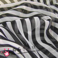 2019 New Tecidos Tissus Black And White Stripe Fabric Chiffon Scarf Little Short Skirt Unlined Upper Garment Of Gauze Fabrics