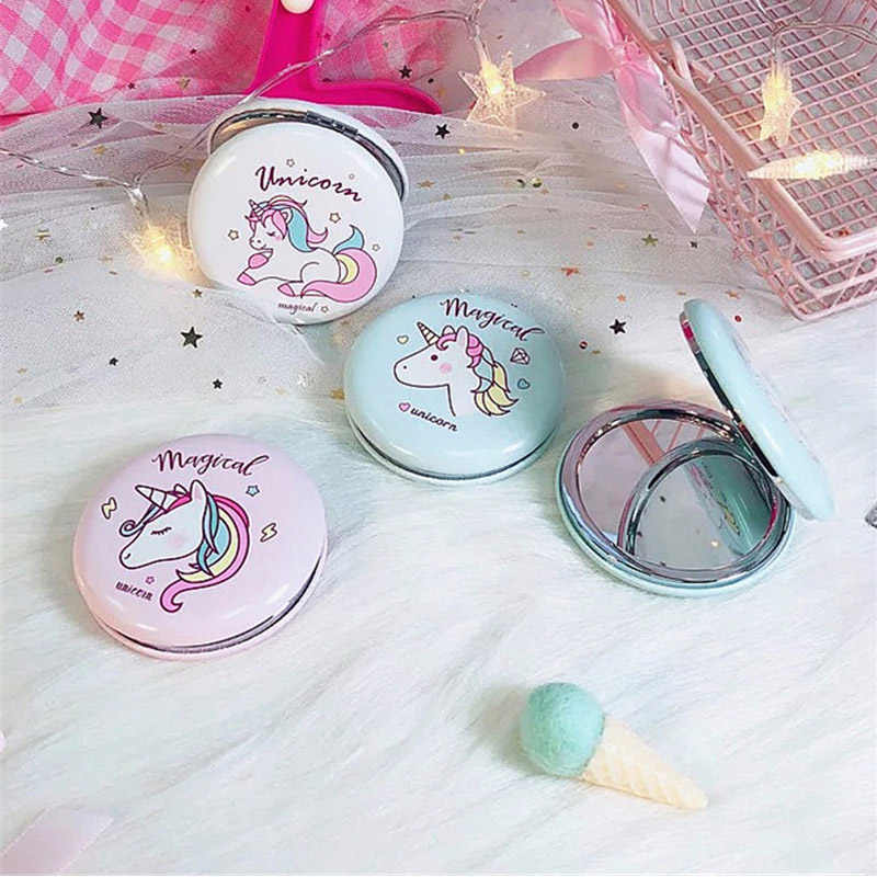 Birthday Gift Double Sided Mirror PU Leather Home Decor Portable Folding Rainbow Mini Unicorn Table Desktop Women Pocket