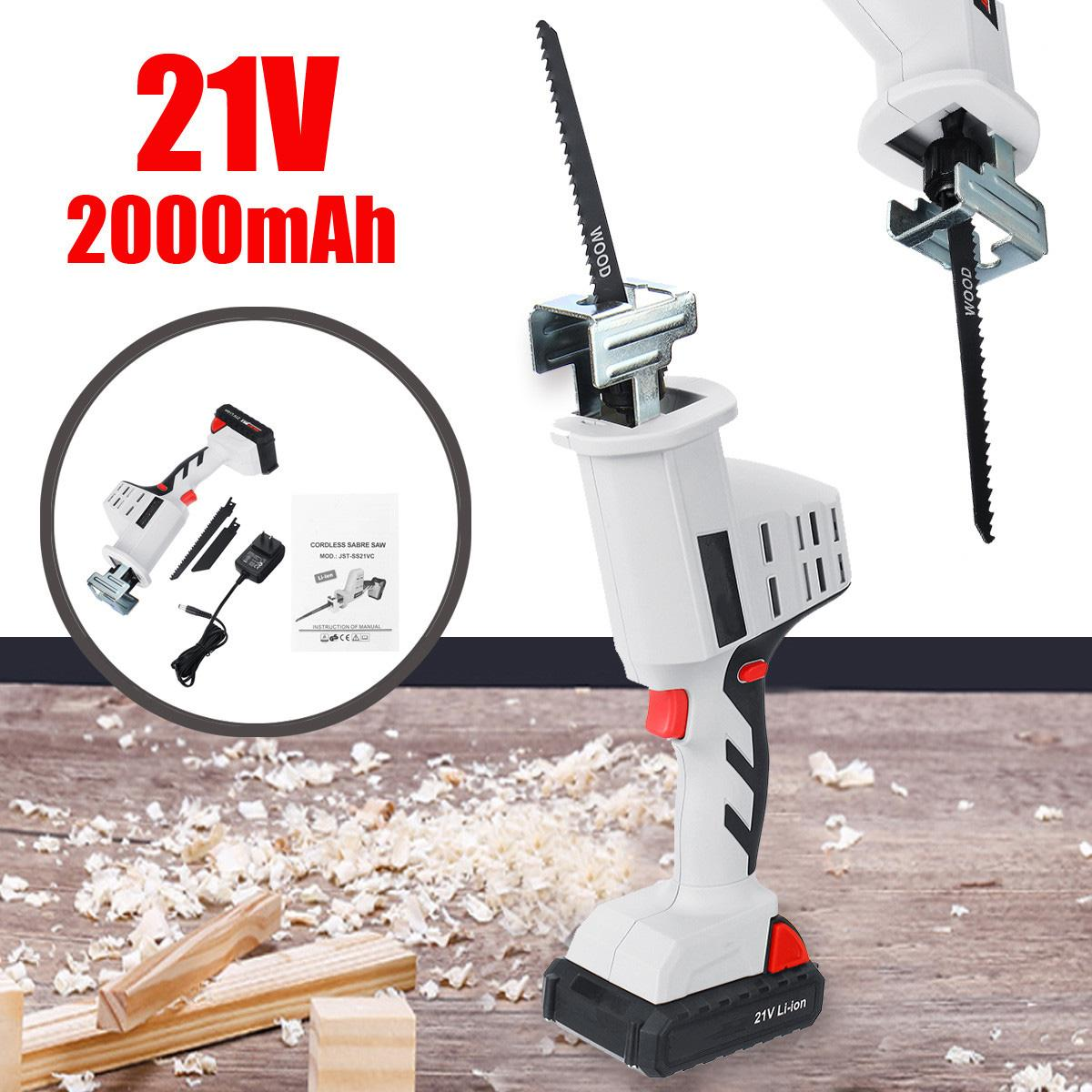 21V Li Ion 1500/2000/4000mAh Cordless Reciprocating Saw Kit Portable Charging Electric Saw with 1500mAh Li Ion Battery