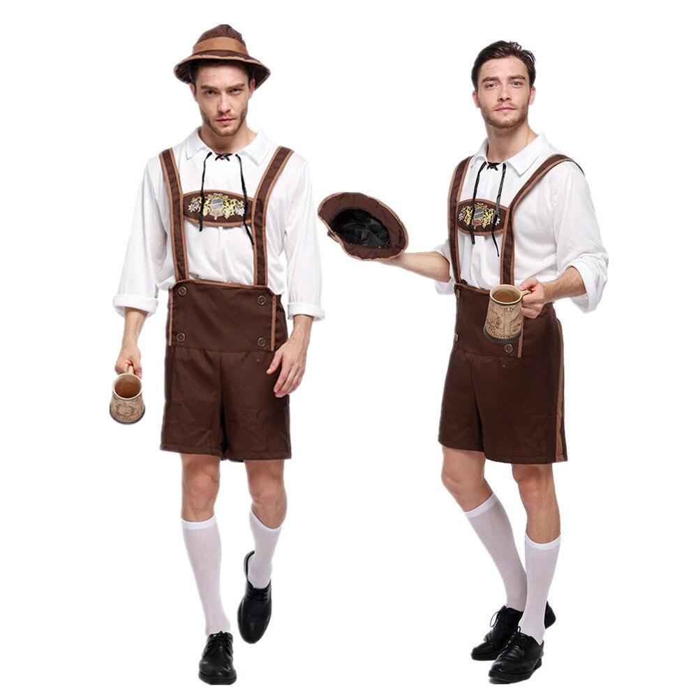 Germany Traditional Oktoberfest Adult Beer Men's Costume Halloween Bavarian Lederhosen Stage Performance Clothing