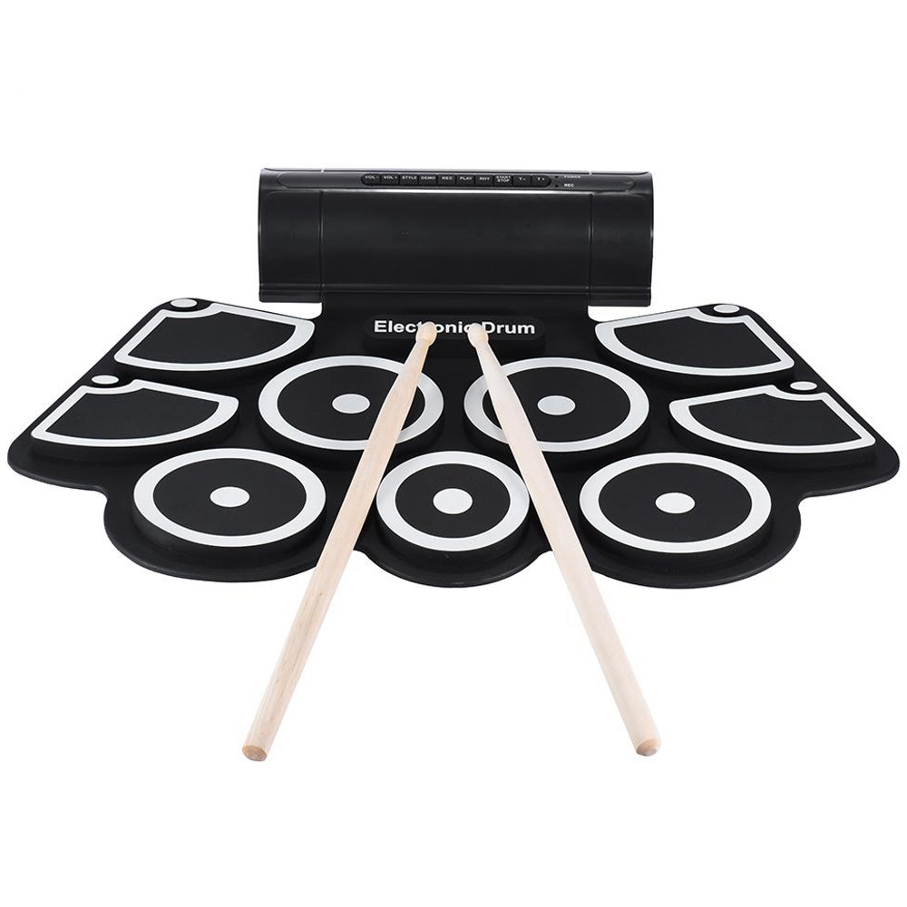 HOT-Portable Electronic Roll Up Drum Pad Set 9 Silicon Pads Built-In Speakers With Drumsticks Foot Pedals Usb 3.5Mm Audio CablHOT-Portable Electronic Roll Up Drum Pad Set 9 Silicon Pads Built-In Speakers With Drumsticks Foot Pedals Usb 3.5Mm Audio Cabl